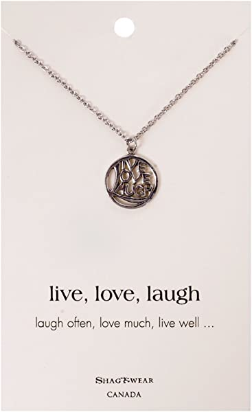 Amazon Shagwear Inspirational Quote Pendant Necklace Circle Simple Live Love Laugh Quote