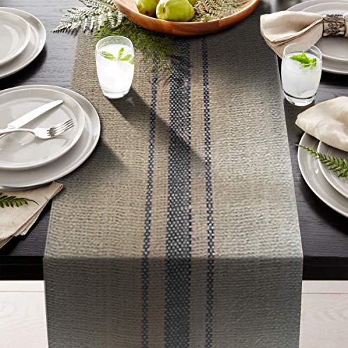 - AAYU Brand Premium Burlap Table Runner with 3 Blue Stripes Down The Middle | 12 inch x 10 Yards Non-Fraying |Eco-Friendly, Natural Jute Product 360 inches Long (Blue)