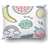 Emvency Pillow Covers Decorative Cute Patch Badges Banana Watermelon Lemon Etc Comic Style Bulk With Zippered 20x26 Standard Size Pillow Case For Home Bed Couch Sofa Car One Sided