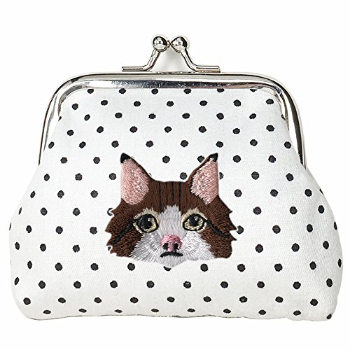 ([ NORWAY JEAN NORWEGIAN FOREST CAT ] Cute Embroidered Buckle Coin Purse Wallet [ White Polka Dots ] )