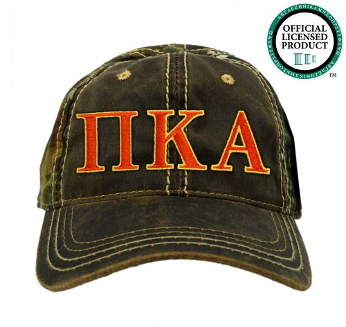 Pi Kappa Alpha (Pike) Embroidered Camo Baseball Hat, Various Colors