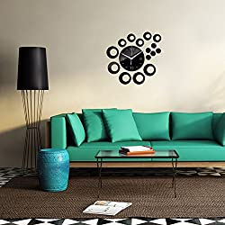 Ghaif Diy creative round wall clock 3D,C Removable For bedroom living room kitchen TV background wall bathroom dormitory office