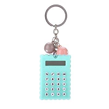 ASHATA Mini Calculadora Portátil,Diseño de Llavero de Metal con Botón de Silicona y Pantalla de 8 bits,Color Caramelo Estilo Creativo para ...