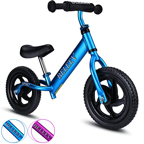 BELEEV Balance Bike(4.3 lbs) Aluminum Alloy, No Pedal Toddler Bike, Adjustable Handlebar and Seat, 110lbs Capacity for Kids Age 18 Months to 5 Year Old (Blue)