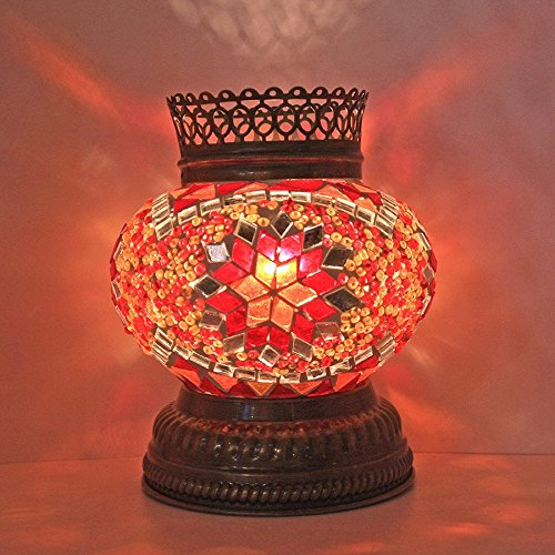 Woodymood Mosaic T Light/Candle Holder, Turkish Moroccan Mosaic Glass lamp 4'' 1 Ball (Red)