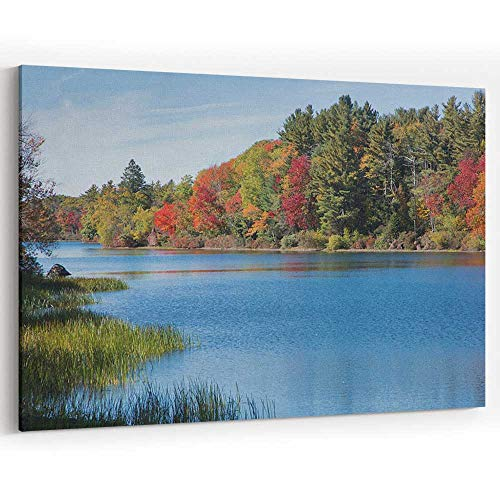 Actorstion New England Brilliant Fall Foliage Canvas Art Wall Dector,Home Decor Stretched-Framed Ready to Hang
