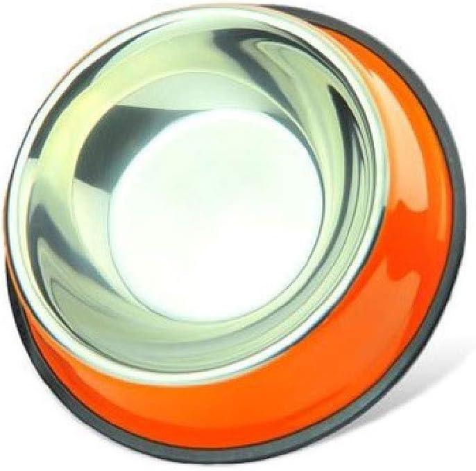 CWWAN Pet Bowl Non-Slip Stainless Steel Dog Bowl cat Bowl Food Bowl Basin Single Bowl (Orange)
