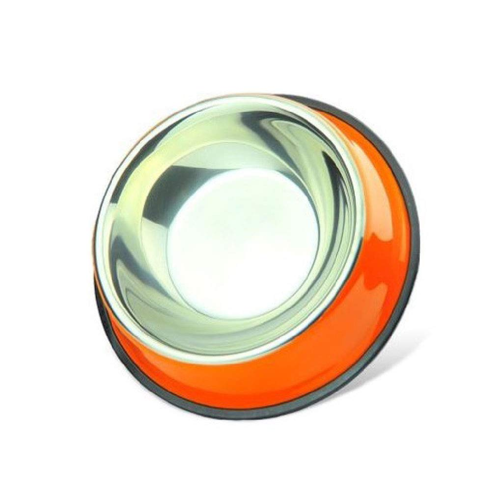 orange CWWAN Pet Bowl Non-Slip Stainless Steel Dog Bowl cat Bowl Food Bowl Basin Single Bowl (orange)