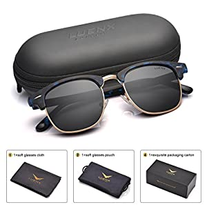 LUENX Men Clubmaster Polarized Sunglasses:UV 400 Protection 51MM with Case (5-Black(Matte Frame)/Non-mirror, 51)