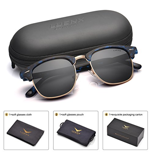 LUENX Men Clubmaster Polarized Sunglasses:UV 400 Protection 51MM with Case (5-Black(Matte Frame)/Non-mirror, - Sunglasses Luxury Case