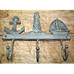 Rustic & Primitive Crafting Supplies was Manufactured to Look Antique Cast Iron Nautical Towel Coat Hooks Hat Hook Key Rack Anchor Lighthouse Sailboat Inspiration for A Project