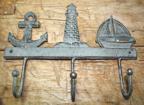 - Rustic & Primitive Crafting Supplies was Manufactured to Look Antique Cast Iron Nautical Towel Coat Hooks Hat Hook Key Rack Anchor Lighthouse Sailboat Inspiration for A Project