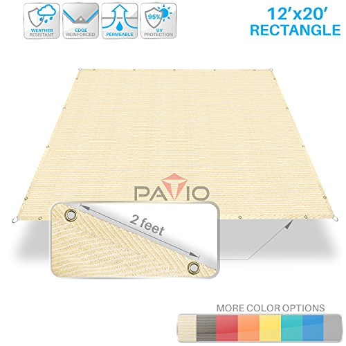 Patio Paradise 12'x20' Heavy Duty Straight Edge Sun Shade Sail,Rectangle 220GSM Shade Canopy Panel Gazebo Pergola Replacement Car Port Awning Customize Available, Beige by Patio Paradise