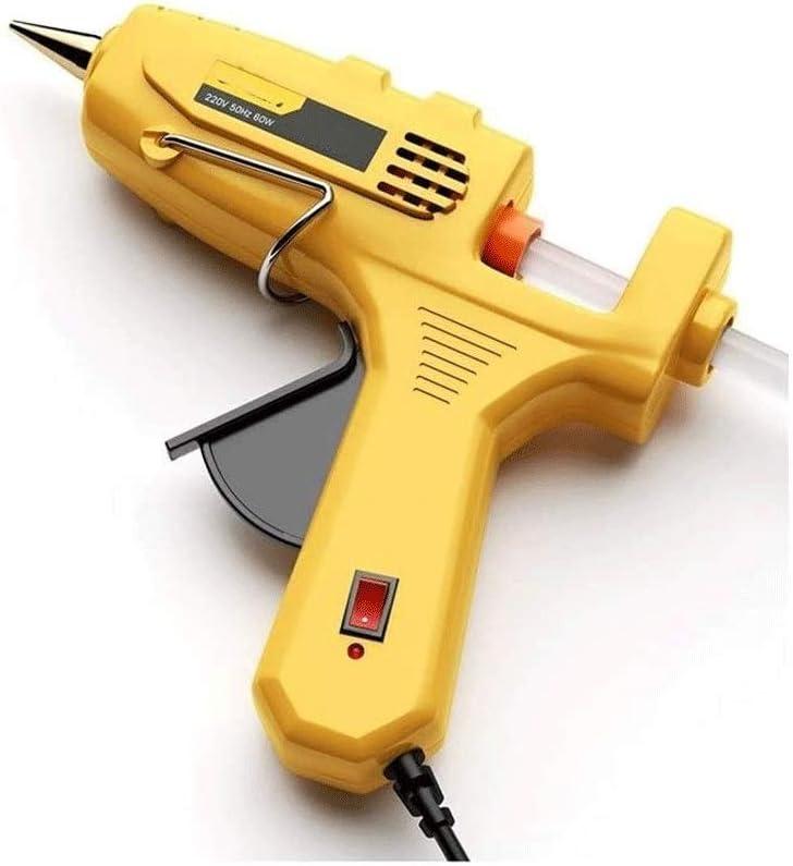 Sdesign Pistola de pegamento caliente, se calienta rápidamente 80W Mini caliente de calefacción for las Artes de bricolaje, afición, reparaciones del hogar, tela, madera, vidrio, Tarjeta (Color: Amari