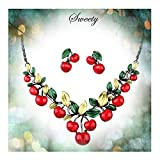 Hamer Women's Red Cherry Party Jewelry Set Statement Necklace Earrings