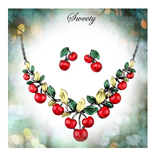 Hamer Womens Red Cherry Party Jewelry Set Statement Necklace and Earrings