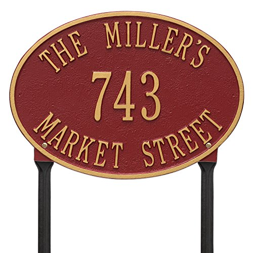 (Whitehall Products Hawthorne Standard Oval Red/Gold Lawn 3-Line Address Plaque)