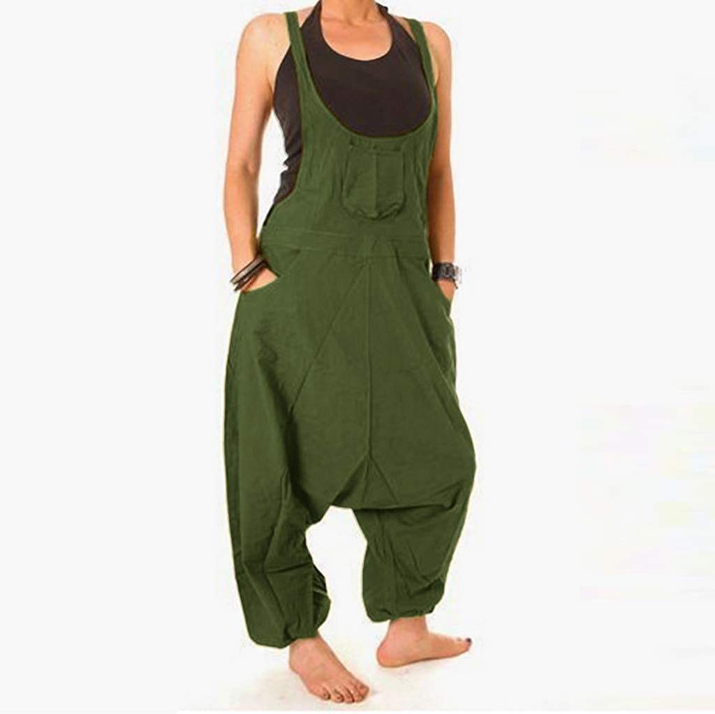 Women Jumpsuit Long Sleeve Harlan Pants Casual Romper Drop Crotch Overalls Baggy