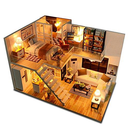 CUTEBEE 3D Wooden DIY Dollhouse Miniature DIY Doll House Kit with Furniture,1:24 DIY Dollhouse Kit