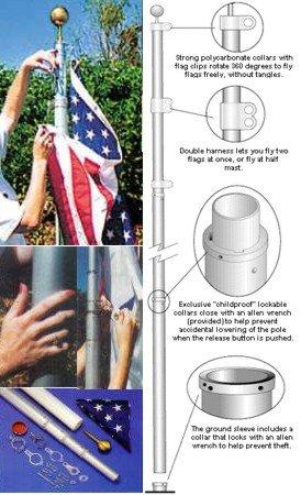 Flagpole Pole - Sunsetter 20' Anodozed Flagpole