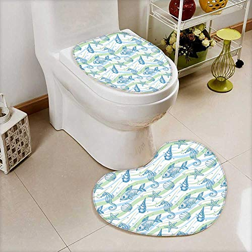 Bathroom Non-Slip Nautical Marine Ocean Shell Starfish Oyster Mollusk Seahorse Underwater Aquatic Mint Blue for Hote Heart Shaped Foot pad Set Personalized Durable W18 x H20 / W14 x H16 ()