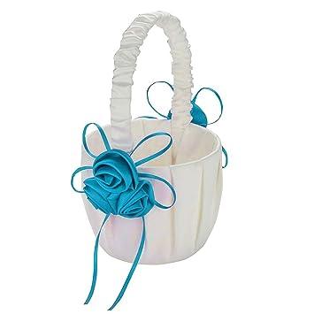 Wedding Pageboy Ribbon Satin Faux Rose Flower Girl Basket Home Party Decor Bland