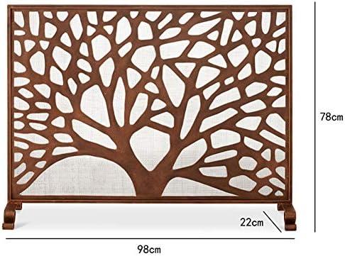 暖炉スクリーン シングルPanle火画面/スパーク火災ガード、小枝設計のための暖炉/ストーブ/グリル、ブラウンの金属暖炉フェンス