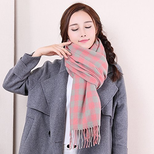 HOMEE Plaid Couple Scarf Winter Thickening Shawl Warm,Fly ash by HOMEE