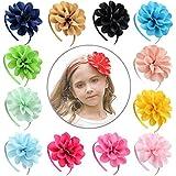 SEIKEA Flower Headband for Little Girls Grosgrain Ribbon Wrap Hair Accessories 12 Pack