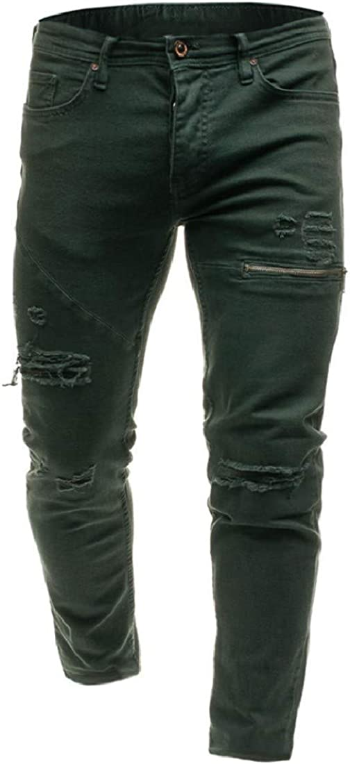 neveraway Mens Biker Distressed Jogger Sports Pants Frayed Jeans