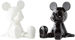 Enesco Disney Ceramics Mickey Mouse Sitting Salt and Pepper Shakers, 3.5 Inch, Black and White