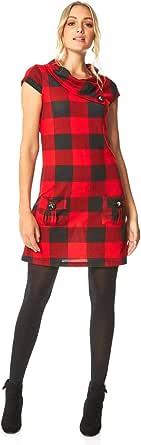 Roman Originals - Vestido de mujer con diseño de cuadros y bolsillos, cómodo vestido largo de la rodilla, cuello redondo, estilo informal, para la oficina y el día a día.