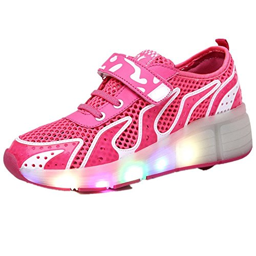 FG21ds21g Girl's Boy's Kids LED Light Up Wheel Shoes Roller Skate Shoes LED Lighting Sport Sneaker