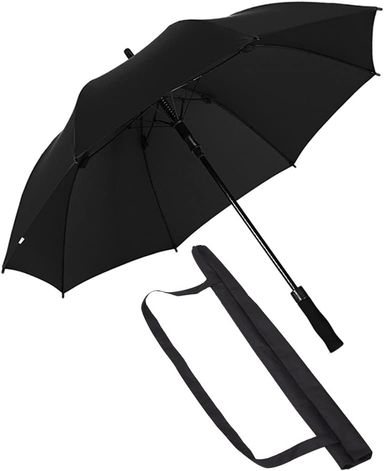 Auto Open Sturdy Large Umbrella With Slip-Proof Ergonomic Handle And Black Sleeve Color : Black ZHEN GUO Classic Rain Umbrella Windproof Lightweight Reinforced Fiberglass Frame 8 Ribs