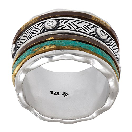 - Silpada 'Isabella Spinner' Sterling Silver and Patina Brass Ring, Size 11