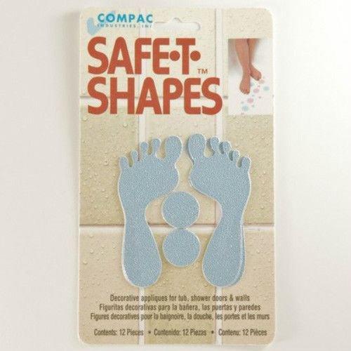 (Blue Feet) Safe-T-Shapes Safety Applique Bath Tub Shower Sticker Decal No Slip Nonslip Appliques