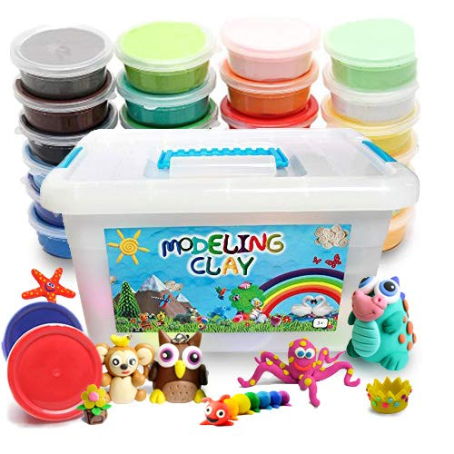 FlyFlag Eco-Friendly Modeling Clay, Air Dry Molding Magic Clay, Ultra Light, Non Toxic for Kids, Teens, Creative Art DIY Crafts, 24 Colors by FlyFlag