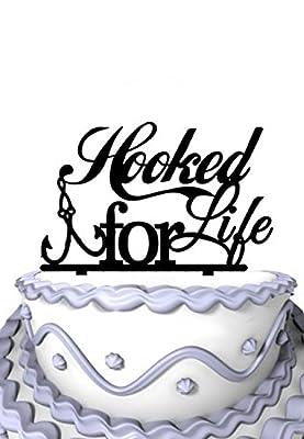 Meijiafei Script Hooked For Life Fishing Silhouette Wedding Cake Topper