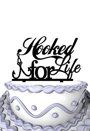 Meijiafei Script Hooked For Life Fishing Silhouette Wedding Cake Topper (Fishing Wedding Cake compare prices)