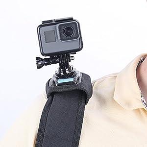 TELESIN Bag Backpack Shoulder Strap Mount with Adjustable Shoulder Pad and J Hook, Strap Holder Attachment System for GoPro Hero 7 Hero 2018 Hero 6/5/4/3+, Session Polarorid Xiaoyi 4K Insta 360 Camera