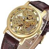 GuTe Dress Golden Skeleton Mechanical Hand-wind Wristwatch Unisex Dark Brown PU