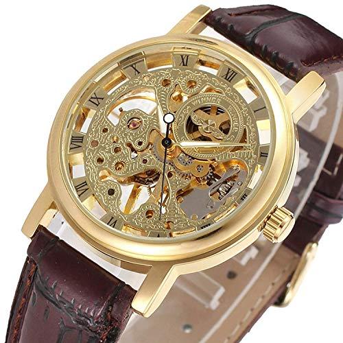 Brown Skeleton - GuTe Dress Golden Skeleton Mechanical Hand-wind Wristwatch Unisex Dark Brown PU
