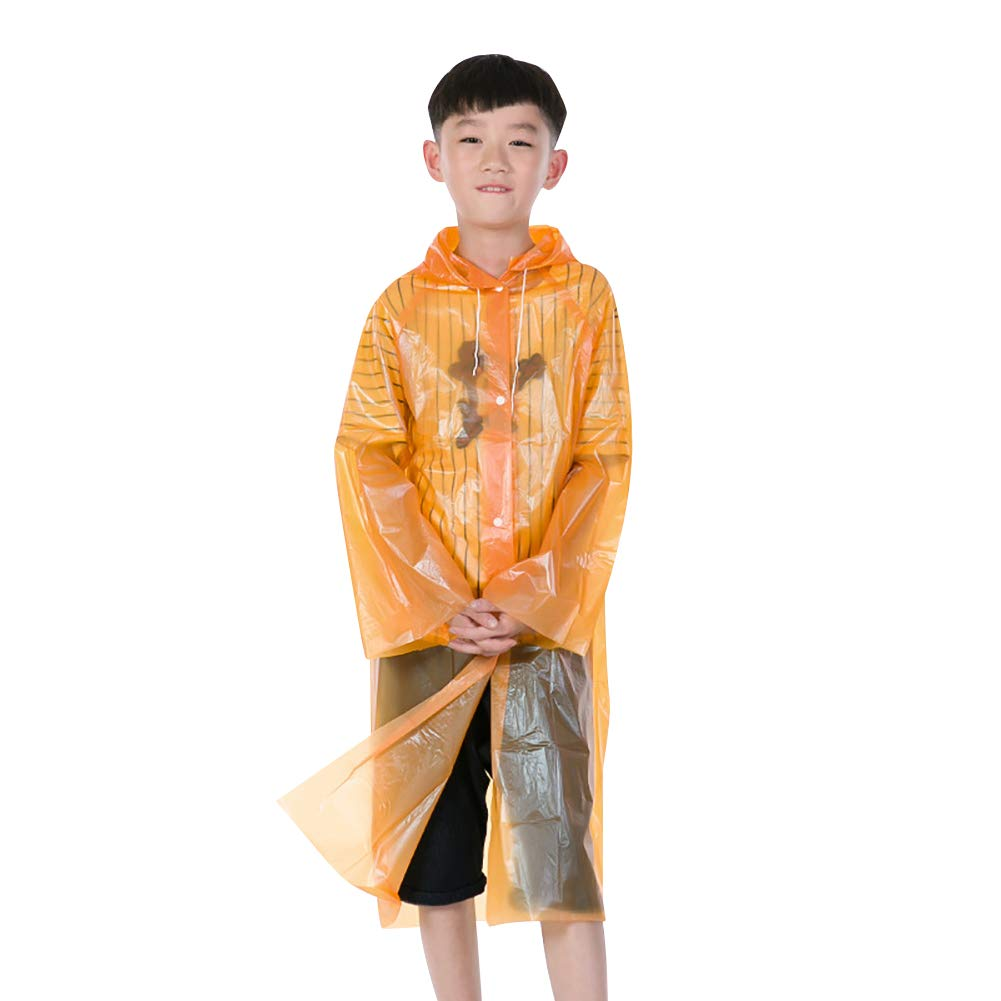BLagenertJ Kids Hooded Raincoat Button Rain Poncho Disposable Waterproof Outdoor Orange