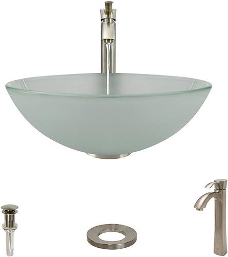602 Brushed Nickel Bathroom 726 Vessel Faucet Ensemble Bundle – 4 Items Vessel Sink, Vessel Faucet, Pop-Up Drain, and Sink Ring