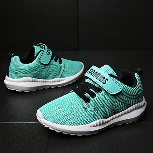DADAWEN Boy's Girl's Breathable Strap Casual Tennis Athletic Sneakers Running Shoes Light Green US Size 6 M Big Kid by DADAWEN (Image #4)