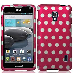 LG Optimus F6 D500 MS500 Polka Dots Hard Plastic Protector Snap-On Cover Case - Hot Pink White