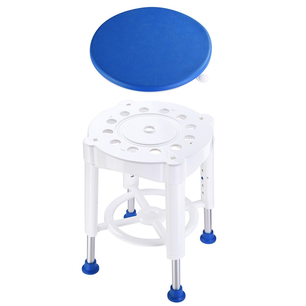 AW 14'' Adjustable Medical Bath Stool Bathroom Safety Shower Stool Swivel Chair with Rotating Seat Aluminum by AW (Image #6)
