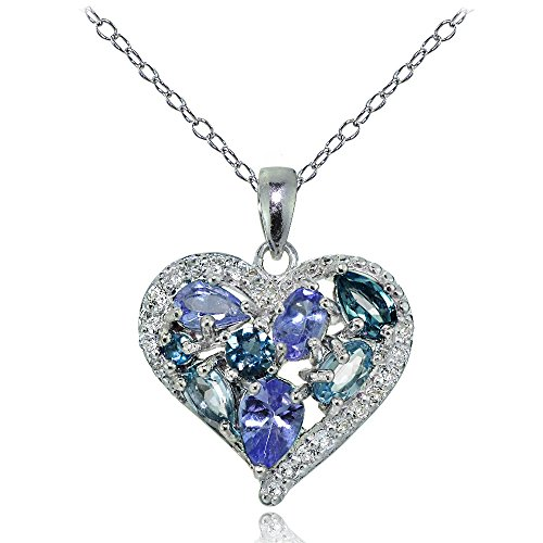 Ice Gems Sterling Silver Tanzanite, Aquamarine, London Blue and White Topaz Heart Cluster Tonal Necklace