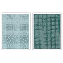 Sizzix Texture Fades Embossing Folders 2-Pack, Dot-Matrix and Gridlock Set by Tim Holtz