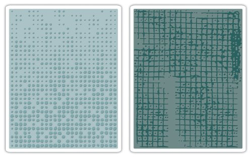 (Sizzix 656649 Texture Fades Embossing Folders, Dot-Matrix & Gridlock Set by Tim Holtz, Pack of 2, Multicolor)